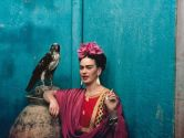 "Frida with her pet eagle, Coyoacán"" 1939"