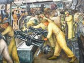 A portion of Diego Rivera's Detroit Industry frescoes